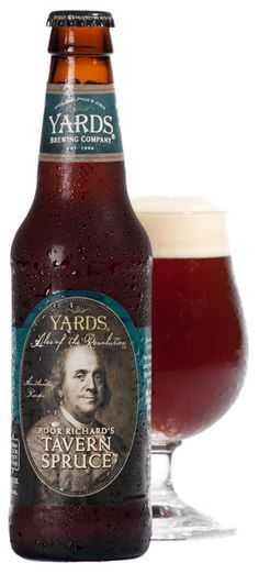 Poor Richard's Tavern Spruce | Yards Brewing Company. Initially brewed to commemorate Ben Franklin's 300th birthday—not to mention his affinity for fine ales—Poor Richard's Tavern Spruce™ is based on Franklin's original recipe. It uses spruce tips and molasses as barley and hops were not readily available at the time.