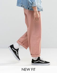 Image 1 - ASOS - Pantalon chino large - Rose clair