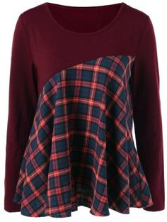 Sewing Top Plaid Trim Elbow Patch Blouse - Fashion Clothing Site with greatest number of Latest casual style Dresses as well as other categories such as men, kids, swimwear at a affordable price. Sewing Clothes, Diy Clothes, Cheap Blouses, Sammy Dress, Casual Tops, Casual Chic, Cool Outfits, Plaid, Boho