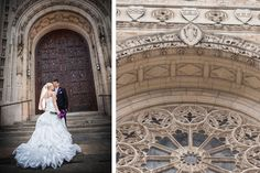 magnificent church #architecture | #wedding photography | #bride & groom in front of #church doors at #Rosary Cathedral in Toledo, OH