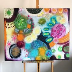Colorful day  Acrylic oilpastel ink marker on canvas...