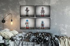 Your little one will love this set of four photo prints of vintage robots for the wall of his room. You have a variety of options for display from either singularly, 4 in a row horizontally or grouped 2 x 2. Printed on premium finish, long lasting Kodak ENDURA photo paper using Vintage Robots, Retro Robot, Nursery Prints, Wall Art Prints, Vintage Sports Nursery, Minimalist Home Decor, Minimalist Room, Home Designer, Beautiful Collage