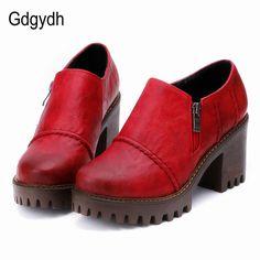 Gdgydh 2018 Spring Autumn Women Shoes Thick Heels Female Pumps Round Toe  Platform Ladies Single Shoes 1e85ec3f9776