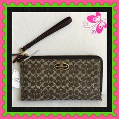 "Authentic Coach Logo Clutch % AUTHENTIC✨ Beautiful & classic large logo double zipper clutch / wristlet/ wallet from Coach! Very spacious! Length 8 1/2"" Height 4 1/2"" Width 1"" w/ detachable wrist  leather strap. Lots of compartments inside for your cash, cards & phone. Yellow gold tone hardware. New w/ tag. NO TRADE  PRICE IS FIRM‼️‼️ Coach Bags Clutches & Wristlets"