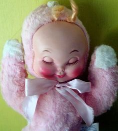 Vintage 1960's Wind Up Sleepy Plush Doll - my sleepy doll from the late 50's didn't wind up, but I sure loved her. She was yellow instead of pink...