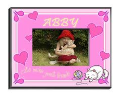 """Personalized  Children's Frames - Kitten. Our personalized Children's Frames are perfect for your favorite picture. They make great room decorations and keepsakes. Frames measure 8"""" x 10"""" and hold a 4"""" x 6"""" photo. See individual frame for personalization.This item takes 3-4 business days to process before it ships === Christmas Shipping Cut Off (U.S. Only) === U.S. Std/Ground: Dec. 8th (11:59pm PST) === U.S. 2-Day Express: Dec. 13th (11:59pm PST)"""