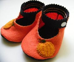 pumpkin felted baby shoes