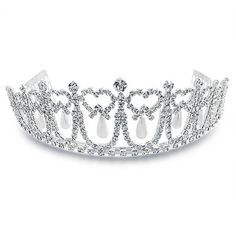 Bling Jewelry Pearl Princess Tiara ($26) ❤ liked on Polyvore featuring jewelry, tiaras, accessories, dress up, fashion-headbands, bridal crown, pearl bridal jewelry, crown jewelry, bridal jewellery and pearl jewelry