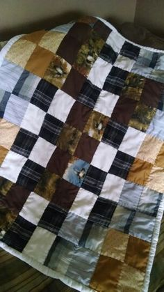 Lap quilt i made from my son's old shirts!