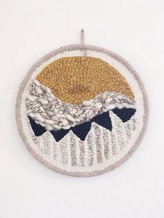 Circular punch needle fiber wall hanging decor by hellohydrangea