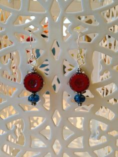 Red and Blue Czech Glass Earrings by MeiCustosAngele on Etsy