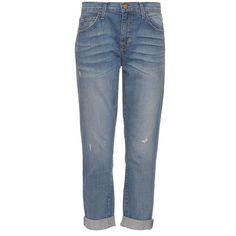 Current/Elliott The Fling low-slung boyfriend jeans ($175) ❤ liked on Polyvore featuring jeans, denim, slim fit jeans, cropped jeans, boyfriend fit jeans, blue ripped jeans and distressed boyfriend jeans