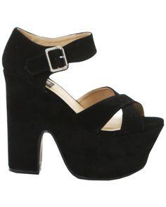 ILWF Black Suede Block Platform Shoe - In Love With Fashion