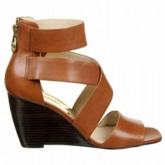 SALE - Michael Kors Jenna Wedge Heels Womens Cognac Leather - Was $145.00 - SAVE $7.00. BUY Now - ONLY $137.75.