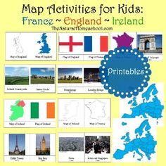 Map Activities for Kids: France, England, Ireland {Printable Cards} It is simply so much fun learning about the countries of the world, their flags, what is special about them and other awesome things. World Geography Map, Geography For Kids, Maps For Kids, Teaching Geography, Map Activities, Printable Activities For Kids, Learning Activities, Fun Learning, Indoor Activities