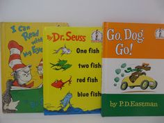 Dr. Seuss and P.D. Eastman Book Lot of 3- Go, Dog, Go, I Can Read Wtih My Eyes Shut, One Fish Two Fish by CellarDeals on Etsy