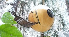 Free Spirit Spheres, Vancouver Island Canada Suspended spherical tree house pods tucked away in the forests of Vancouver Island sure are unique. If you've ever wanted to live in the trees for a night, this is your chance. Treehouse Hotel, Building A Treehouse, Magic Treehouse, Tree House Designs, In The Tree, Vancouver Island, Decor Interior Design, Free Spirit, Around The Worlds