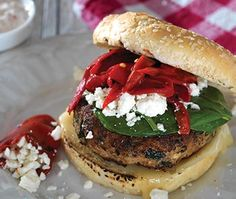 Grilling inspiration! Delicious recipe from Red, White & Barbecue – Feta and Spinach Turkey Burger #RedWhiteBBQ
