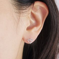 Diamond Shaped Stud Earrings in Silver by bkandjio on Etsy