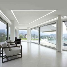 LED Ceiling lights that would be best for your home rely upon specific components. Beside your room's general outline, the extent of your room and the stature of its ceiling are basic. Recessed Ceiling, Led Ceiling Lights, Glass Ceiling, Ceiling Windows, Huge Windows, Ceilings, Blitz Design, Ceiling Light Design, Home Ceiling