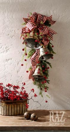 Christmas holidays often come with joy and happiness. This can be emphasized with a bunch of DIY Christmas wreaths to make the holiday complete. Christmas Swags, Christmas Door Decorations, Christmas Bells, Country Christmas, All Things Christmas, Winter Christmas, Christmas Holidays, Christmas Ornaments, Tesco Christmas