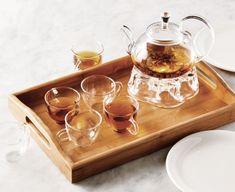 Ens. de 9 pièces pour le thé avec plateau en bambou Clara Holiday Gift Guide, Holiday Gifts, Ens, Bath Caddy, Tray, Decor, Bamboo, Store, Xmas Gifts