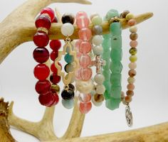 stackable gemstone stretch bracelets in various styles & colors!  these are gorgeous!