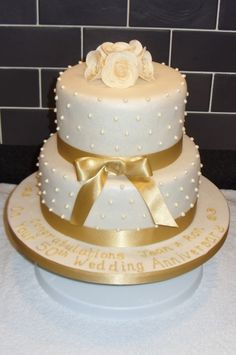 Golden Wedding Anniversary Cake By Kimsi on CakeCentral.com