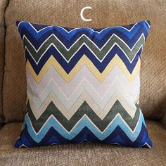 Nordic style geometric decorative pillow for couch blue striped sofa cushions