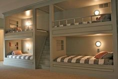 Lighted built-in bunks. Build steps to top bunks for easy access. Tiny home living in your own basement. Bunk Beds Built In, Build In Bunk Beds, Cool Bunk Beds, Kid Beds, Built In Beds For Kids, Lofted Beds, Bunk Beds With Stairs, Game Room Basement, Playroom