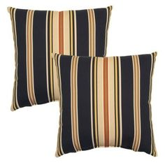 Hampton Bay 16 in. Charcoal Stripe Outdoor Toss Pillow (2-Pack)-7050-02225800 - The Home Depot