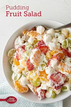 Betty's own unique take on the classic ambrosia fruit salad cleverly combines refrigerated vanilla pudding, miniature marshmallows and frozen whipped topping with fresh and canned fruit! Expert tip: This summer-fresh salad is a good counterpoint to a buffet of vegetable or green salads. Stock your pantry with canned fruits that complement fresh grapes and berries—canned pears or peaches in juice are great chunked up in place of mandarin oranges or pineapple tidbits.