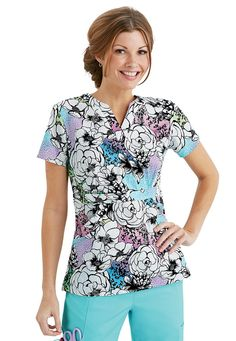 Life is Peachy Blooming Garden crossover print scrub top. Main Image