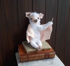 Bat art doll, albino bat, creature, bat toy, ooak art doll creature, bat sculpture by WaggledanceArt on Etsy