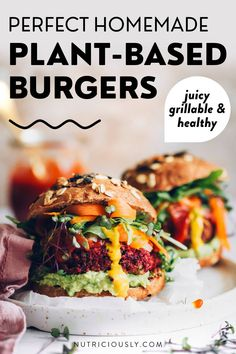 Beautifully colored and highly nutritious, these beet and kidney bean burger patties are scrumptious and satisfy any meat craving! Really easy to make and highly customizable, they are fully whole food plant-based, meal prep-friendly, kid-friendly and are loved by any non-vegan for a meatless dinner. Oil-free, grillable, juicy and crispy, these healthy bean patties are best put in a fluffy whole wheat bun and dressed with BBQ sauce, mustard, ketchup, avocado and crunchy veggies. Kidney Bean Burgers, Vegan Bean Burger, Plant Based Burgers, Veggie Burgers, Best Vegan Protein, Whole Food Recipes, Dinner Recipes, Vegetarian Recipes, Healthy Recipes