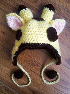 Giraffe crochet baby hat