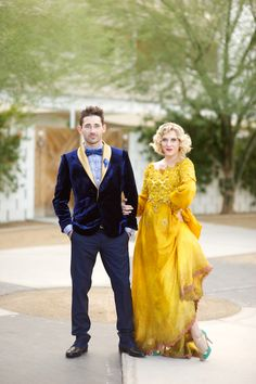 Enter Ryan and Susie. They are, as you can see, both clad in utterly jaw-dropping garb for their wedding in Palm Springs last Thanksgiving. Susie, you may note, is wearing a particularly stunning long-sleeved lace dress that she has dyed the most sunflowery shade of yellow.