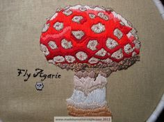 Fly Agaric toadstool freehand embroidery