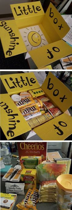 This is such a fun friend care package idea! - - This is such a fun friend care package idea! This is such a fun friend care package idea!-- without result -->Related Post Image r Sunshine Care Package, Box Of Sunshine, Diy Cadeau, Ideias Diy, Creative Gifts, Unique Gifts, Homemade Gifts, Boyfriend Gifts, Boyfriend Gift Basket