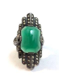 Antique Art Deco Signed Uncas Sterling Silver Marcasite Chrysoprase Ring Size 3 #Uncas