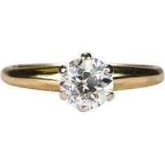 Old European Cut Solitaire Diamond Ring 14k Gold .75ctw