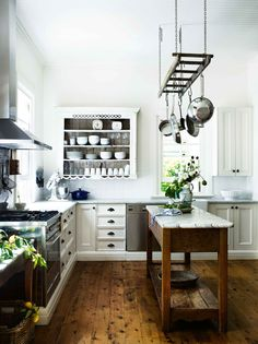 Dream Kitchen. Marble Work Surfaces, Shelves And A Freestanding Island  Bench. June 2016