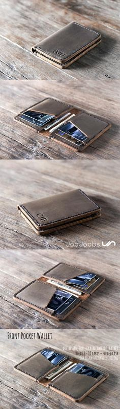 JooJoobs Credit Card Wallet✦Best Wallet on Etsy✦Personalized design is made from distressed leather✦stitched with a waxed nylon thread using our signature hand stitching✦All products are handmade✦Xmas gifts for him✦Birthday gifts✦Father's day gifts✦✦FREE Louis Vuitton Taschen, Diy Accessoires, Handmade Leather Wallet, Leather Card Wallet, Credit Card Wallet, Credit Cards, Leather Projects, Groomsman Gifts, Leather Working
