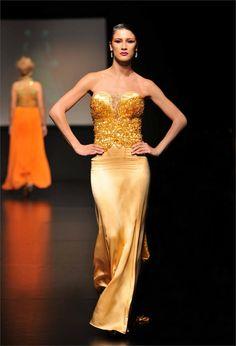 ANdres Aquino Strapless Dress Formal, Formal Dresses, One Shoulder, Mermaid, Runway, Fashion Design, Gold, Tea Length Formal Dresses, Walkway