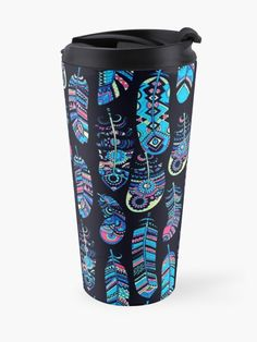 """Turquoise Boho Feathers Pattern"" Travel Mug by HavenDesign   Redbubble Feather Pattern, Travel Mugs, My Coffee, Feathers, I Shop, Turquoise, Boho, Artist, Prints"