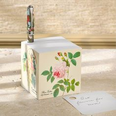 Redouté Note Cube and True Writer Bouquet Ballpoint