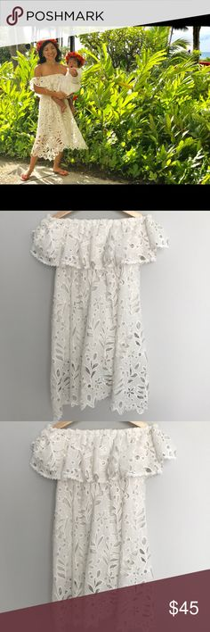 Chicwish floral white lace off the shoulder dress Chic Wish's popular white floral lace dress. Off-the-shoulder and perfect for summer and vacations. I wore it just once in Hawaii as pictured. Like new. Dresses Mini
