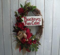 Ohio State Buckeyes Wreath Buckeyes Fan Cave by KathysWreathShop