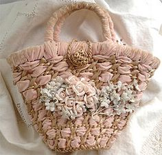 Vintage Purse with Millinery Flowers