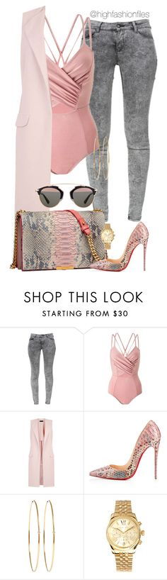 """Tones"" by highfashionfiles ❤ liked on Polyvore featuring Zara, Miss Selfridge, New Look, Elie Saab, Christian Louboutin, Jennifer Meyer Jewelry, Michael Kors and Christian Dior"